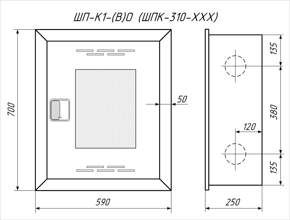Чертеж пожарного шкафа ШП-К1(В)ОБ  (ШПК-310 ВОБ)
