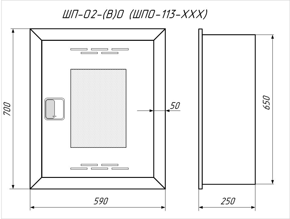 Четреж пожарного шкафа ШП-О2(В)ОК (ШПО-113 ВОК)