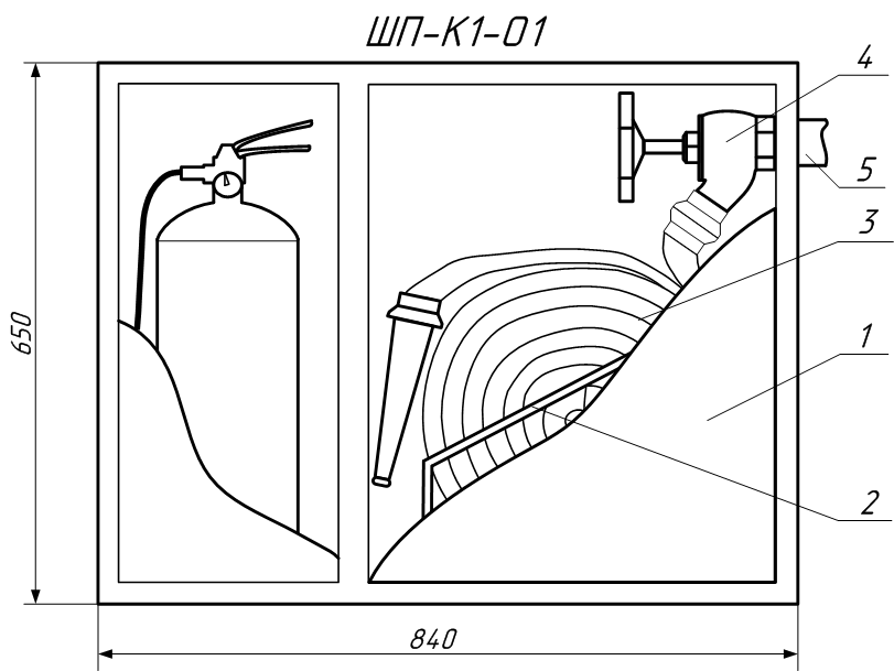 Чертеж пожарного шкафа ШП-К1-О1 (ШПК-315) в разрезе