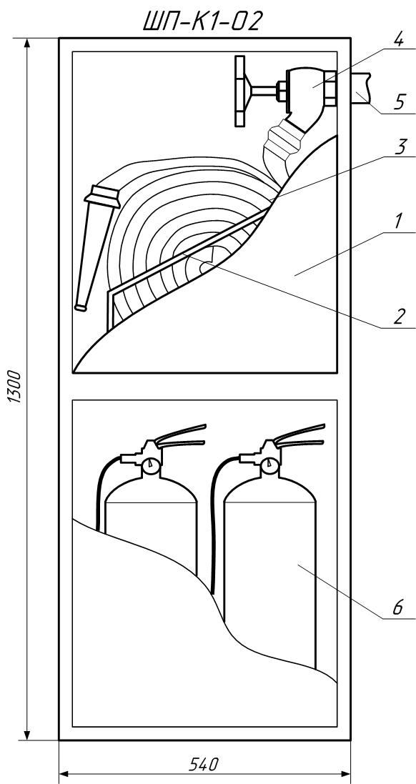 Чертеж пожарного шкафа ШП-К1-О2(Н)ОБ (ШПК-320 НОБ) в разрезе